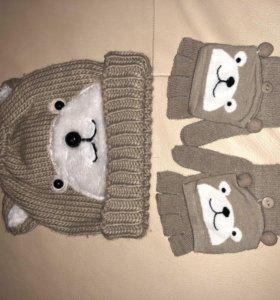 Шапка+перчатки Новые