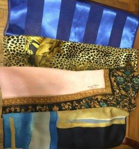 4 платка (шарфы) отл сост шелк, полиэстр