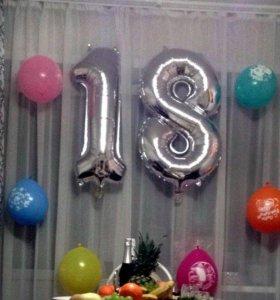 Воздушные шары фольгированные цифра 1 и 8