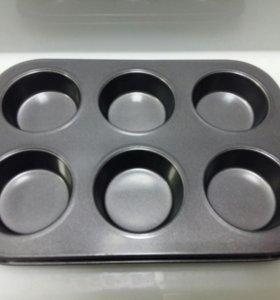 Форма для выпечки 6 маффинов, капкейков, кексов