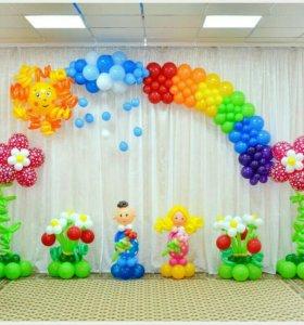 Оформление выпускного в детском саду шариками
