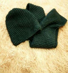 Новый модный зимний комплект, шапка и снуд