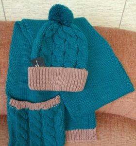 Шапка + шарф, новый в упак.