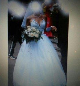 Свадебное платье,перчатки,подъюбники