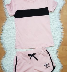 Новый костюм футболка шорты adidas женский спорт