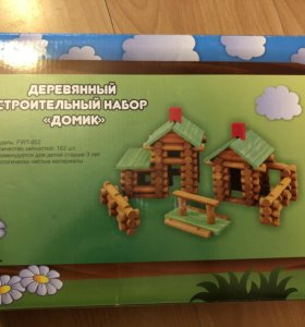 Деревянный строительный набор ДОМИК
