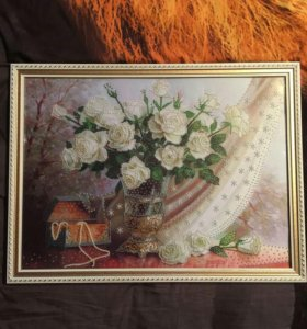 Цветы бисером Белые розы, 50*37см