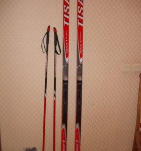 беговые пластиковые лыжи Tisa в комплекте