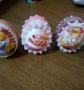 Пасхальные яйца оплетённые бисером (ангелочки 👼)