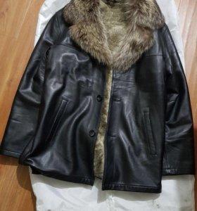 Мужская зимняя куртка с мехом, дубленка