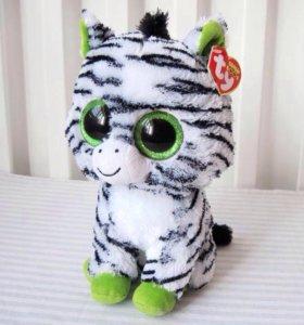 Мягкая игрушка зебра ty с большими глазами