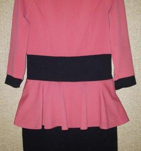 Платье с баской миди мини по колено чёрное