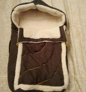 Меховой конверт в коляску,санки