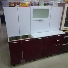 Кухня 2,0 Ксения МДФ (Белый/Бордо)