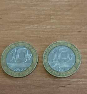 10 франков. Монета Франции.