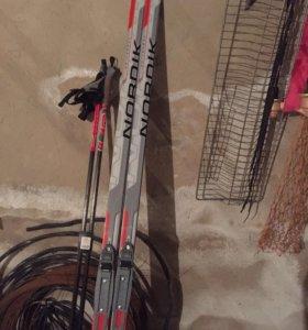 Лыжи беговые плюс палки плюс ботинки