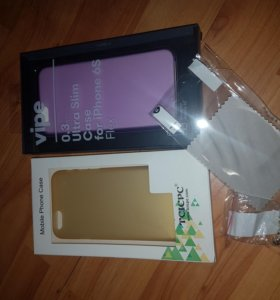 чехолы для iPhone 6,6s 2штуки + пленка + заглушки