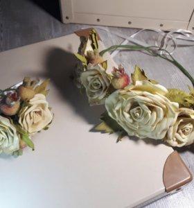 """Венок и браслет """"Чайная роза"""" 👐✂️🌹"""