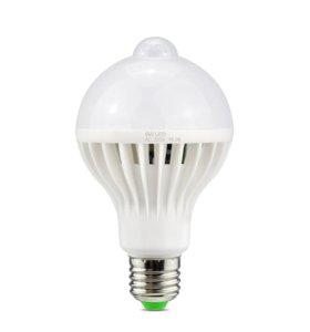 Светодиодная лампа с датчиком движения 9Вт PIR
