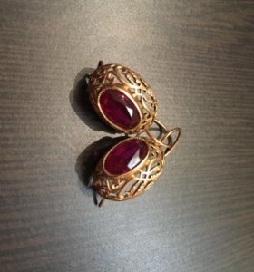 Серьги золото с рубином СССР