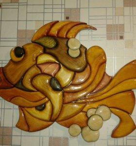 Панно ручной работы ( рыбка )