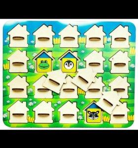 Деревянная игра мемо домики