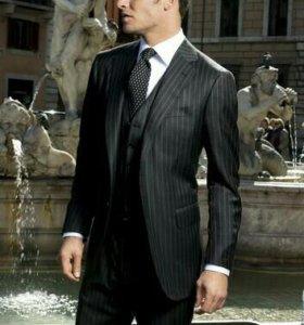 Продам костюм 50 р., одет раз, полоски черные