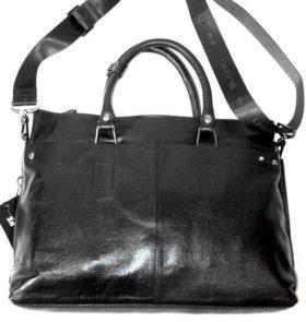 Мужская кожаная сумка Montblanc black A4 новая
