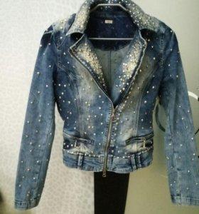 Джинсовая куртка со стразами (Турция) размер 44