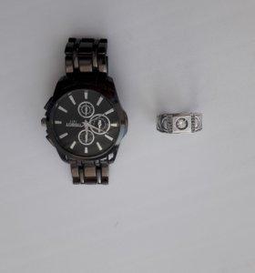 часы и серебренное кольцо 925 пробы 20 размер