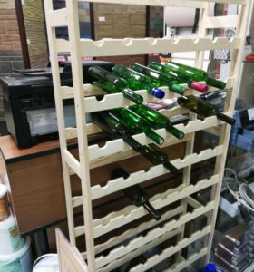 Деревянный стеллаж для 77 бутылок вина