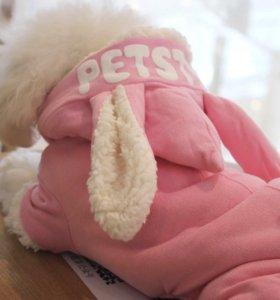Комбинезон «Зайчик» для маленьких собак розовый