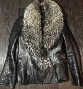 Куртка кожаная, зима-осень.