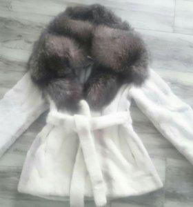 Шуба кролик + чернобурка