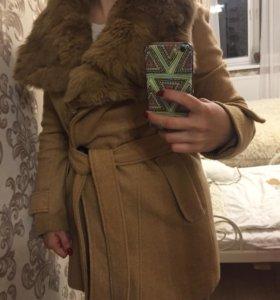 Пальто с натуральным мехом кролик