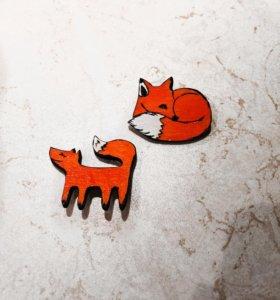 Новые брошки лисички