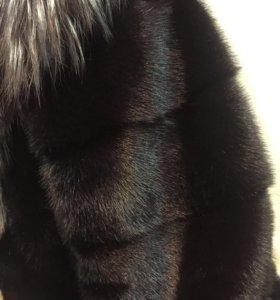 Шуба норковая чёрный бриллиант поперечная