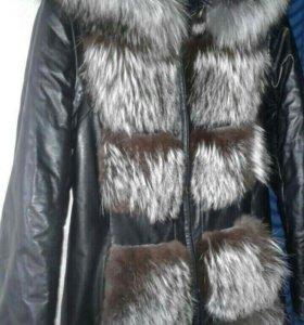 куртка из натуральной кожи с чернобуркой