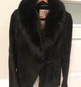 Пальто замшевое с мехом
