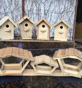Деревянные кормушки для птиц ручной работы