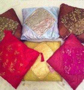 Подушки шёлковые декоративные 40х40 см 10 шт