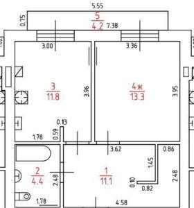 Квартира, 1 комната, 78 м²