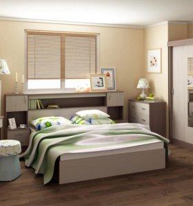 Кровать 160 с ящиками для белья и тумбами