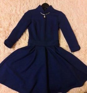 Стеганое синее платье