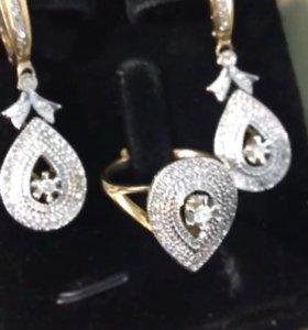Золотой комплект Серьги и кольцо) с бриллиантами