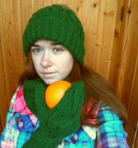 Зимний комплект: шапка, снуд, варежки