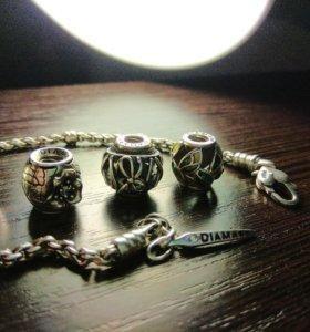 Серебряный браслет, шармы