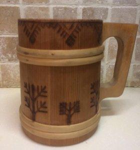 Деревянная кружка, винтаж, антиквариат