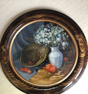 Тарелка на стену деревянная