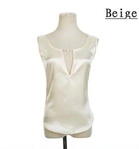 Атласная блуза без рукавов